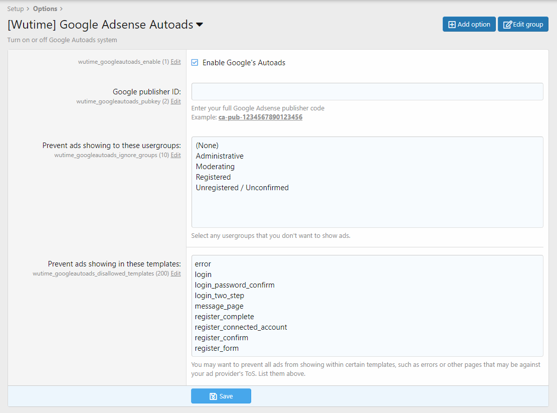 [Wutime] Google Adsense Autoads v1.3.0