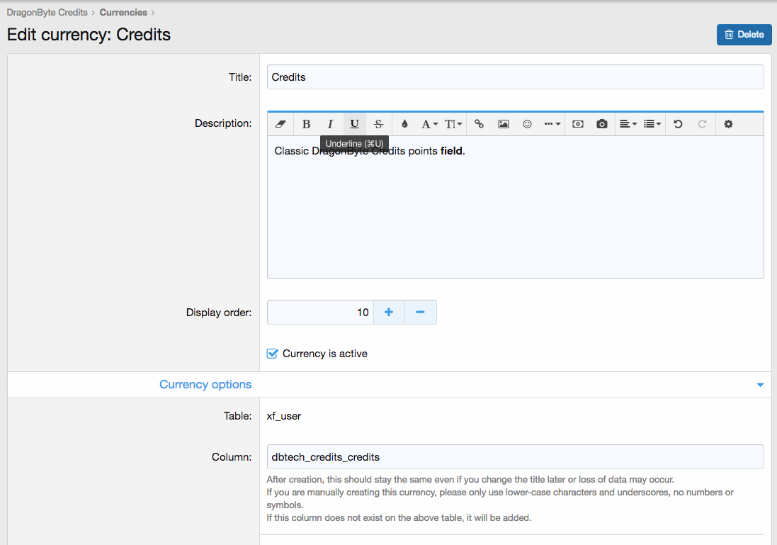 [DBTech] DragonByte Credits 5.6.0 – XenForo Credit System
