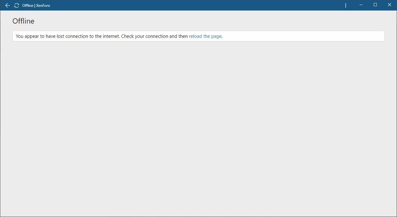 Desktop app offline page