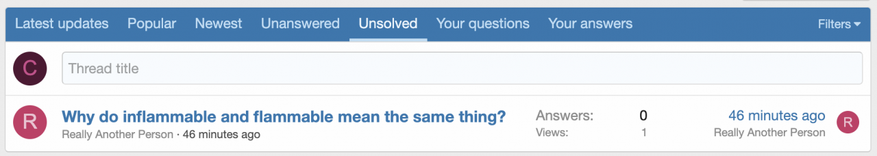Question forum filtered to show unsolved questions