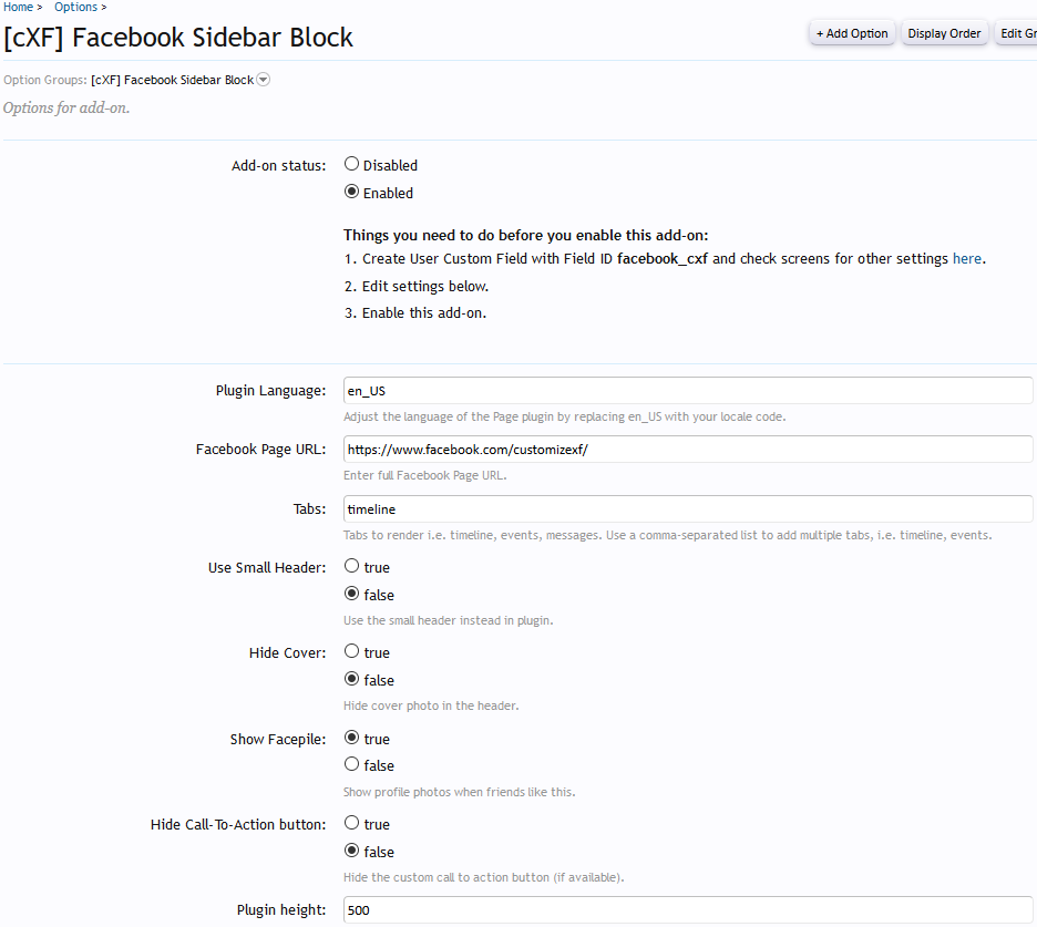 [cXF] Facebook Sidebar Block Options #1