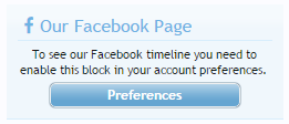Facebook Sidebar Block default highly customizable notice
